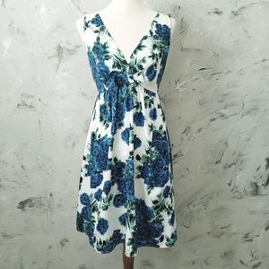 AUW Classic Blue & Green Floral Sundress